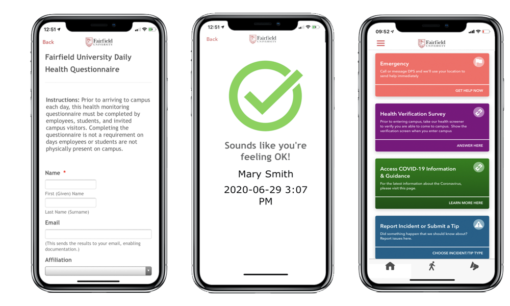 LiveSafe app on Apple iPhone - Fairfield University Daily Health Questionnaire screen