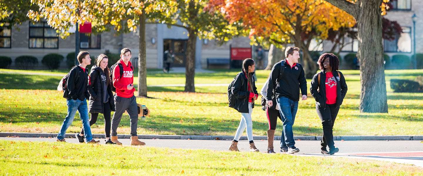 Image of Fairfield University students walking on campus