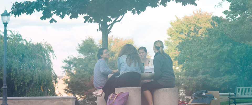 Students sitting outside at a round table