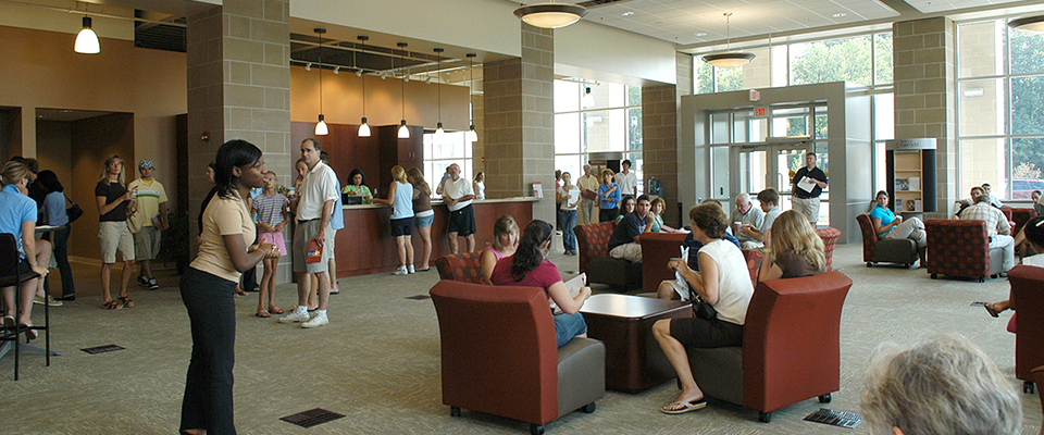 Students and Families wait in the lobby of the Kelley Center