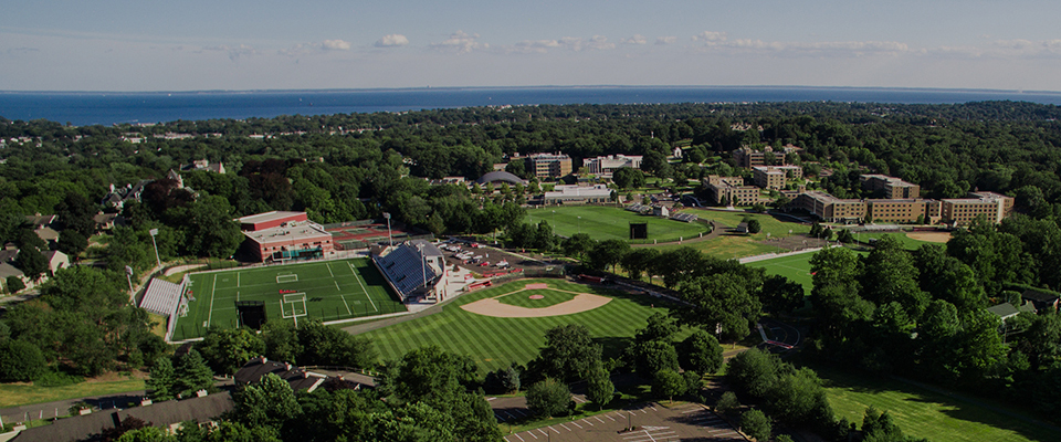 Aerial picture of the sports fields on campus and student dorms