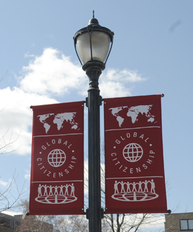 A Global Citizenship flag that was displayed on campus