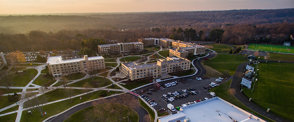 Aerial shot of some of the dorms on campus
