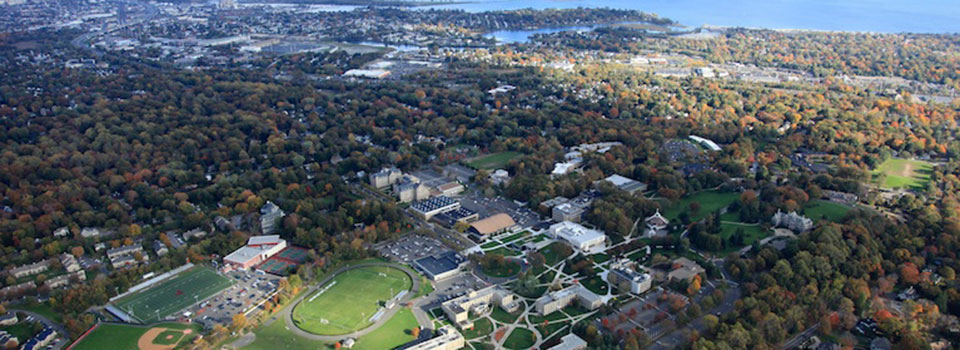 Aerial shot of a large portion of campus