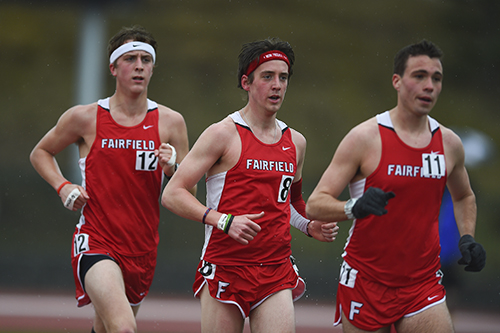 A group of Fairfield University runners during a meet