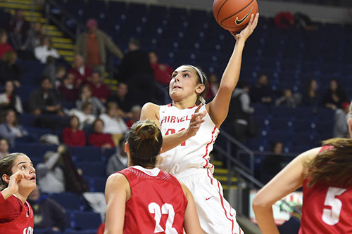 Fairfield U women's basketball player goes for the hoop