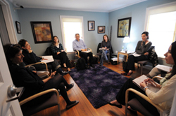 A group meeting in the Koslow Center for Marriage and Family Therapy.