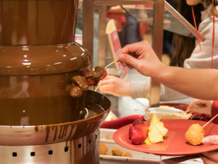 Chocolate fountain during STAGiving Day luncheon