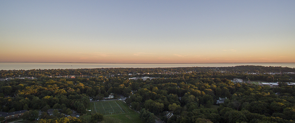 Aerial view of Fairfield University looking out towards Long Island Sound