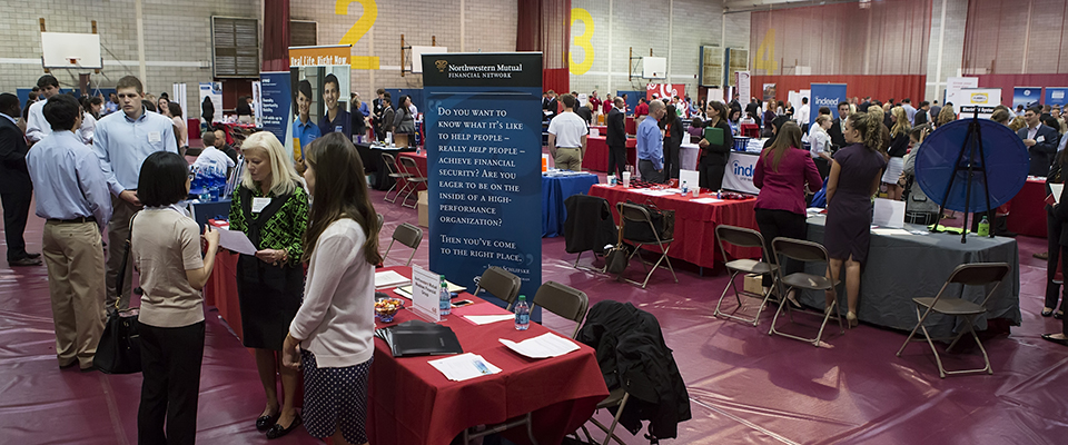 A bustling career fair at Fairfield University