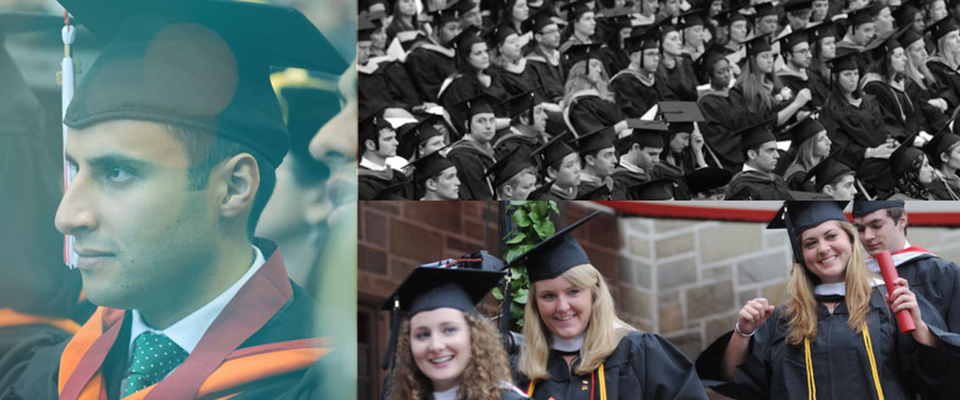 Various pictures of excited Stags ready to graduate