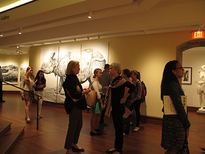 Students and locals enjoying the Fairfield University Art Museum.