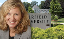 Headshot of Merideth Kazer outside of the Fairfield campus.