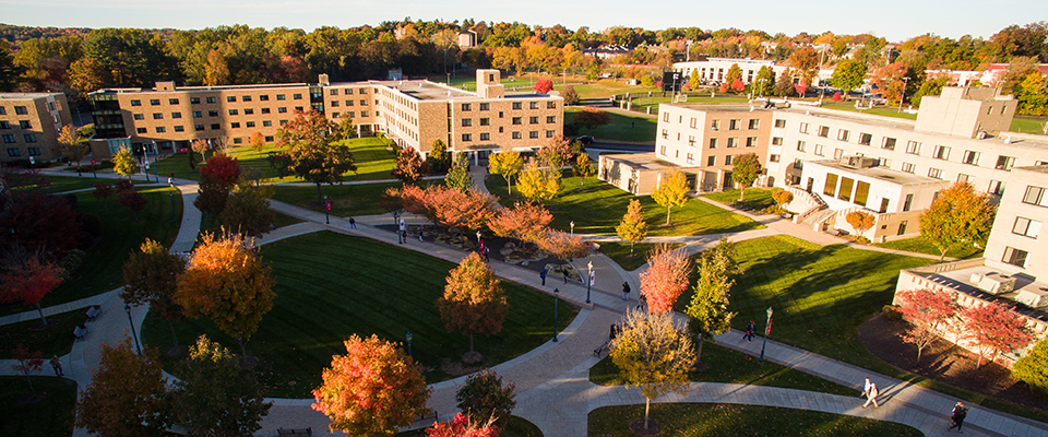 An aerial shot of the middle of campus.