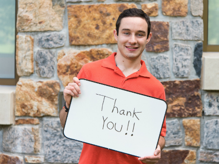 Fairfield student gives thanks to alumni, parents, and friends