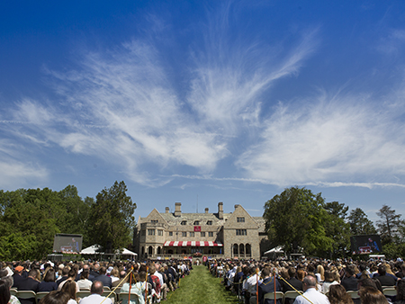 External shot of Commencement on Bellarmine Lawn, behind Bellarmine Hall