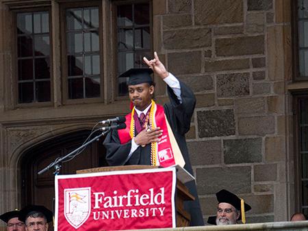 Michael Harding '18 giving the valedictory speech during Fairfield University's undergraduate Commencement ceremony
